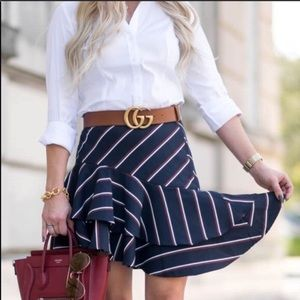 Express Ruffle Striped Black Skirt Sz 10